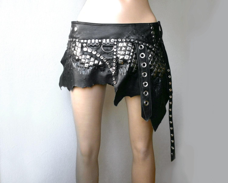warriors black leather wrap mini skirt by dreamwarriors