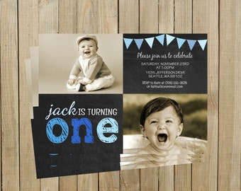 Blue One Chalkboard First Birthday Invitation, Boy, Printable, Custom Digital File
