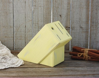 Knife Block, Yellow, Upcycled, Shabby Chic, Distressed, Kitchen Decor, Wood, Hand Painted, Knife Storage, Knife Holder, Small Knife Block