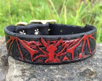 Fire Dragon Hand Tooled Leather Dog Collar (Single Ply)