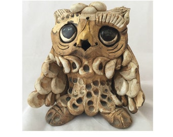 Hindt Clay Owl Sculpture, Max Hindt Big Eyed Owl Figure, HIndt Pottery of California, Mid Century Modern Handcrafted Pottery Owl