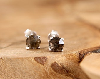 Sterling silver smokey quartz earrings Chocolate brown stud earrings 6 mm gemstone simple studs by Freesize