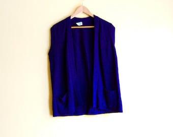 Vintage 60s Open Cardigan - 60s Waistcoat Sweater Vest Open Front Cardigan 60s Sweater Sleeveless Cardigan Sweater Navy Cardigan 60s Sweater