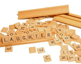 Scrabble Pieces and 4 Wooden Stands, 85 pieces, Incomplete Set