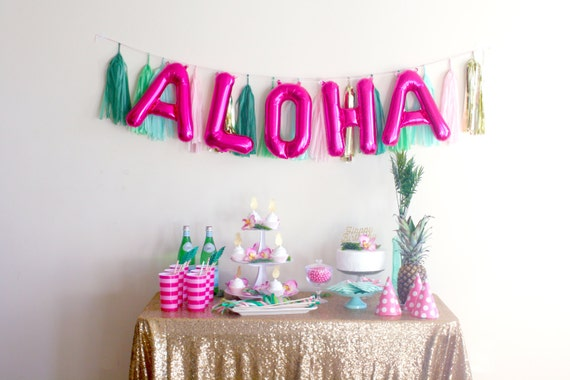 Aloha Banner Letter Balloons Luau Party Decorations
