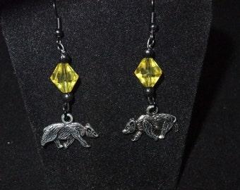 Yellow & Black Hufflepuff Earrings - H3