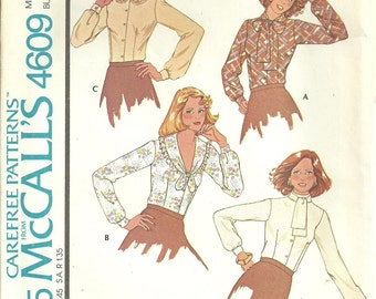 McCall's 4609 Sewing Pattern, Misses Blouses Buttoned Front Long Sleeve Set, Misses Size 16, Uncut Vintage Sewing Pattern.