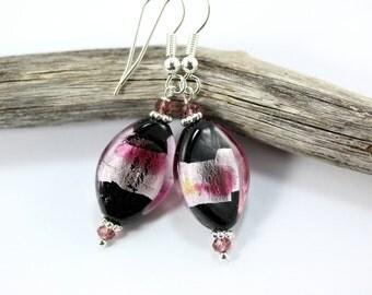 Pink Lampwork Earrings, Pink Crystal Earrings, Pink and Black, Pink Glass Earrings, Beaded Jewelry, Lampwork Beads, Pink Lampwork Beads