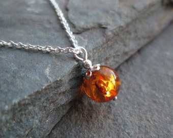 SALE Amber Necklace - Amber Pendant, Amber Jewellery, Real Amber Jewelry, Gift Jewelry, Sterling Silver, Handmade