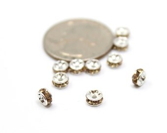Rondelle Spacers with Topaz Swarovski Crystals 5x3mm 6 pcs