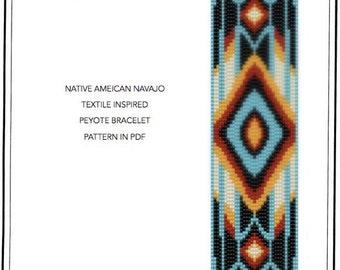 Pattern, peyote bracelet - Native American Navajo inspired peyote bracelet cuff pattern in PDF - instant download