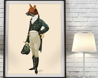 Dandy Fox Full - Fox art fox print fox decor fox painting fox art print fox illustration fox love fox wall art regency era regency men
