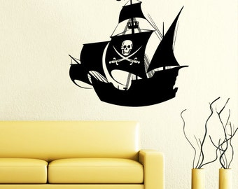 Pirate Ship Wall Decal Nautical Sea Boat Ocean Decals Wall Vinyl Sticker  Interior Home Decor Wall Part 47