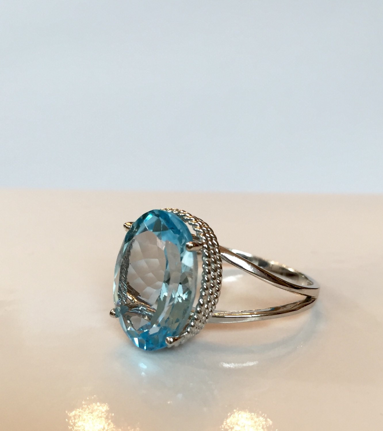 vintage blue topaz ring 11 ct genuine oval by