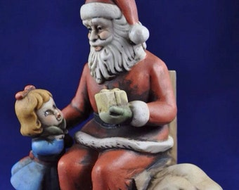 Vintage Christmas Santa Music Box Rotating Ceramic Wind-Up