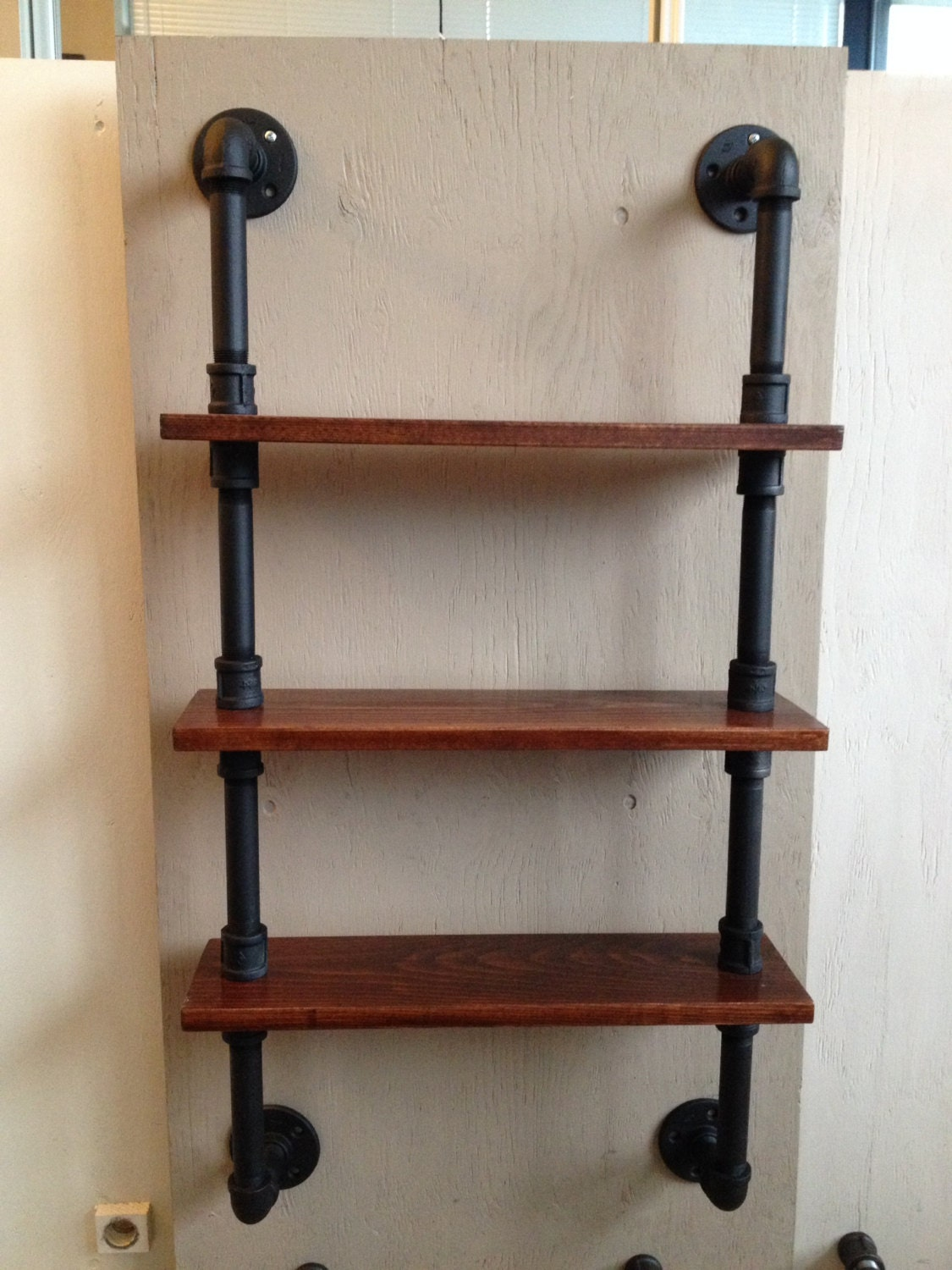 Pipe Shelf with 3 wood shelves by IndustrialPipeDesign on Etsy