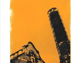 Old warehouse screenprint - industrial art print, architecture art print, city wall art
