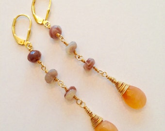 Gold filled Earrings with Botswana Agate and Orange Chalcedony Stones