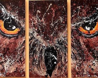 Canvas Glicee Prints Nocturnal Owl at Night Intense Glaring Eyes Splatter Paint Art by ChantelKeiko 20x30