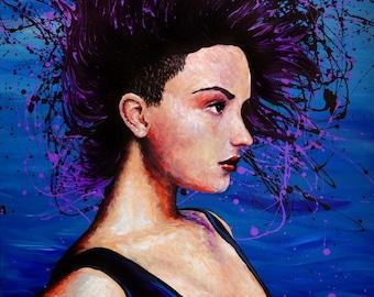 "Original Beautiful Demi Lovato Celebrity Portrait Contemporary Sexy Woman Edgy Wild Model Blue Ocean Temptress Art 48""x36"" by ChantelKeiko"