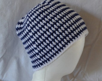 Blue and White Striped Stocking Cap