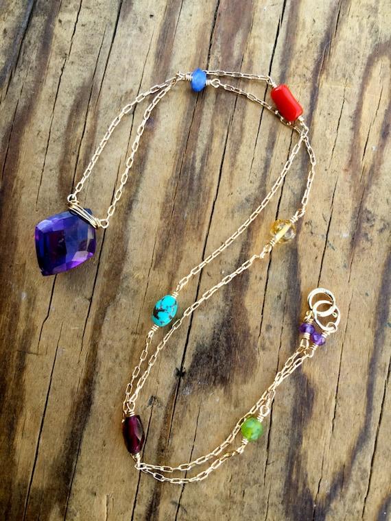 7 Chakra Necklace - Chakra Jewelry - Amethyst Necklace - Crown Chakra Necklace - Chakra Balancing Jewelry  -  Spiritual & Yoga Gift