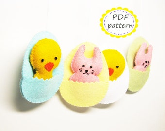 Easter decor pattern felt ornaments - egg chicken bunny - DIY cute soft hanging toy pdf tutorial sewing instructions - Instant Download