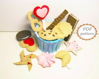 Felt play food pattern 12 sweets Cookies Lollipop Biscuit Waffles Pretzel DIY pdf sewing tutorial - Instant Dawnload handmade gift for kids