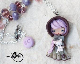 polymer clay necklace/ fairy collection / fimo / zingara creativa / doll