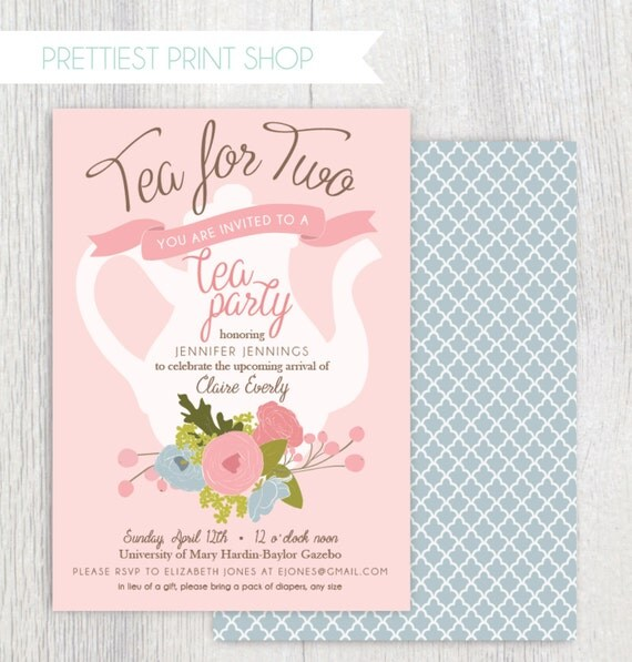 printable tea party baby shower invitation tea pot floral tea