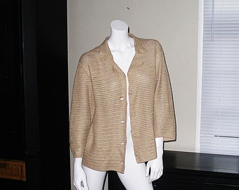 Chico's Chicos Artsy Loose Knit Golden Tan Cotton Sweater Cardigan Layering Top Size 2