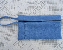 Pencil case from upcycled denim jeans with lining, handmade, clutch purse, cosmetic case, large wallet, art supply case, bike bag 165