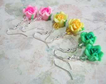 REDUCED! Green Polymer Clay Rose & Swarovski Crystal Earrings - Gift for Girls