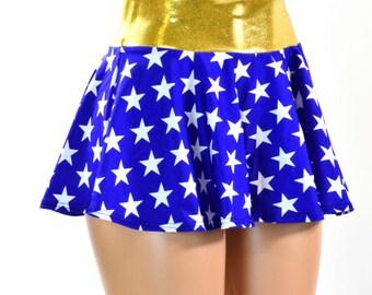 Blue & White Star Print Circle Cut Mini Skirt with Gold Waist Band Rave Clubwear EDM  150900