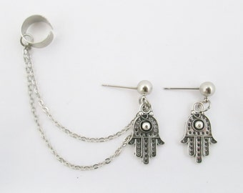 Hamsa ear cuff with chain