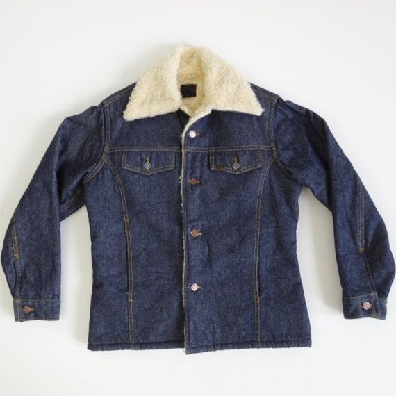 70s fleece lined denim fleece jacket vintage 1970s coat