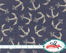 NAVY BLUE ANCHOR Fabric by the Yard, Fat Quarter Tan & Blue Fabric Nautical Fabric 100% Cotton Fabric Quilting Fabric Apparel Fabric a5-39
