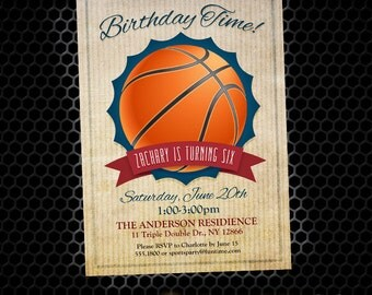 Basketball Invitation - Printable Sports Birthday Invites - Basketball Birthday