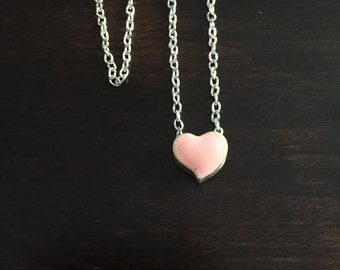 pink heart necklace, heart necklace, silver heart necklace, necklace, silver necklace, necklace