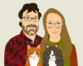 Wedding, anniversary or engagement gift. Custom Portraits. Couple portrait with 2 pets.