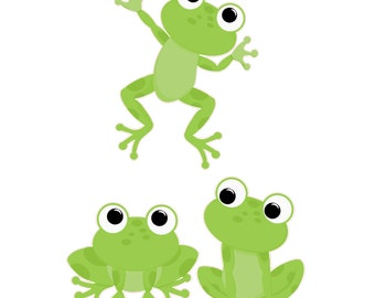 Cute Frogs Removable Repositionable Fabric Wall Decal Stickers 3 Piece Set