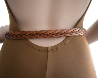 Braided 70s Vintage Leather Belt Size S M A L L