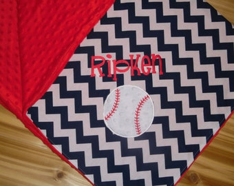 Baseball - Personalized Minky Baby Blanket with Embroidered Baseball- Navy Blue Chevron