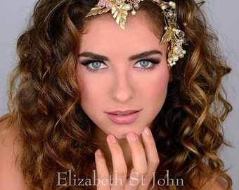 GAIA -swarovski crystal and glass pearl hair vine / Headpiece / Silver or gold metal/ white or ivory accents