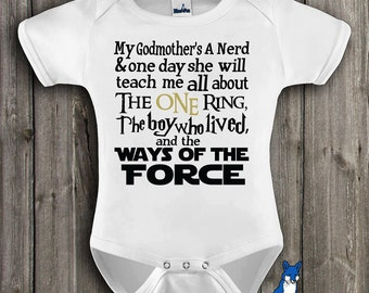 Funny baby,My Godmothers A Nerd,Geekery baby, infant bodysuit,The One Ring, The Boy Who Lived, Ways of the Force, by BlueFoxApparel *246