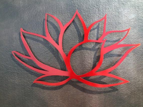 Red Metal Wall Decor: Lotus Flower Metal Wall Art Red Lotus Metal Art By
