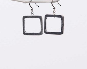 Square Shape Pewter Earrings, Hypoallergenic Stainless Steel Ear Wire