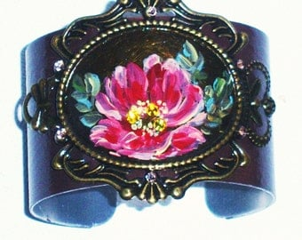 Painted Rose Victorian Cuff Bracelet Vintage Style Romantic Flower Boho Chic Jewelry FREE SHIPPING