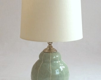 Bedside lamp. Small ceramic table lamp. Modern style office table lamp. Contemporary pottey. Scandinavian style home decor.