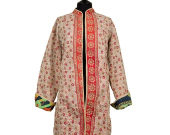 KANTHA JACKET - XX Large - Long style - Size 18/20 - Beige background with small coral flower pattern.